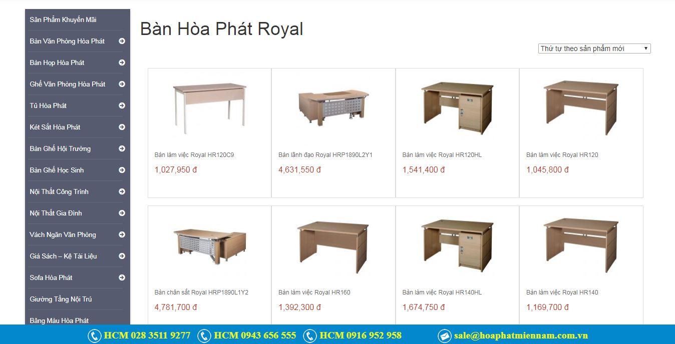Các sản phẩm bàn Royal Hòa Phát