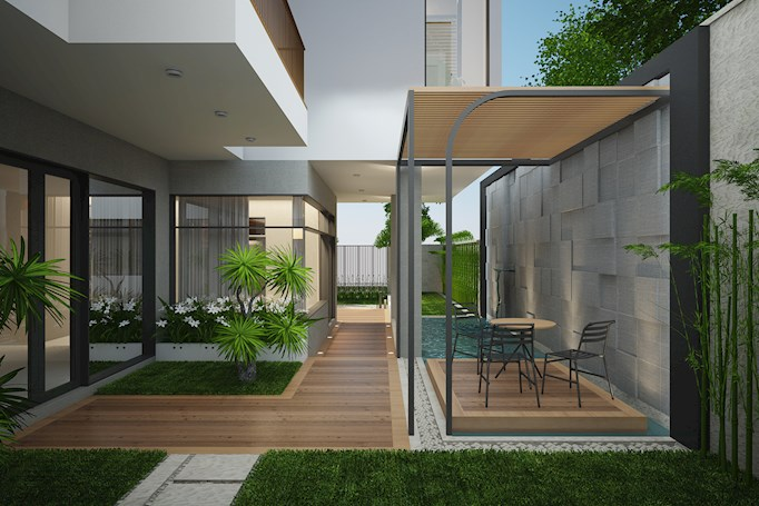 Không gian xanh bên ngoài căn hộ