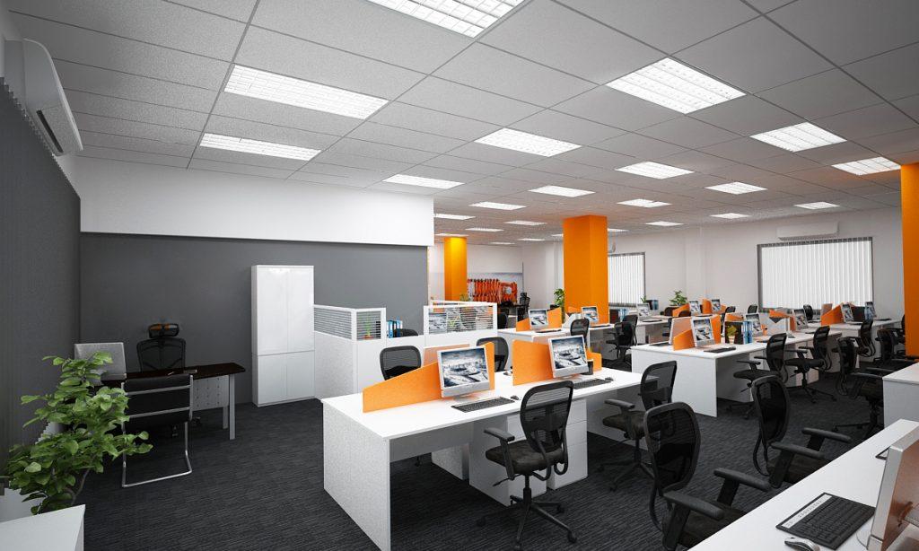 Thiết kế văn phòng làm việc có không gian rộng, đèn được bố trí đơn gian nhưng hợp lý.