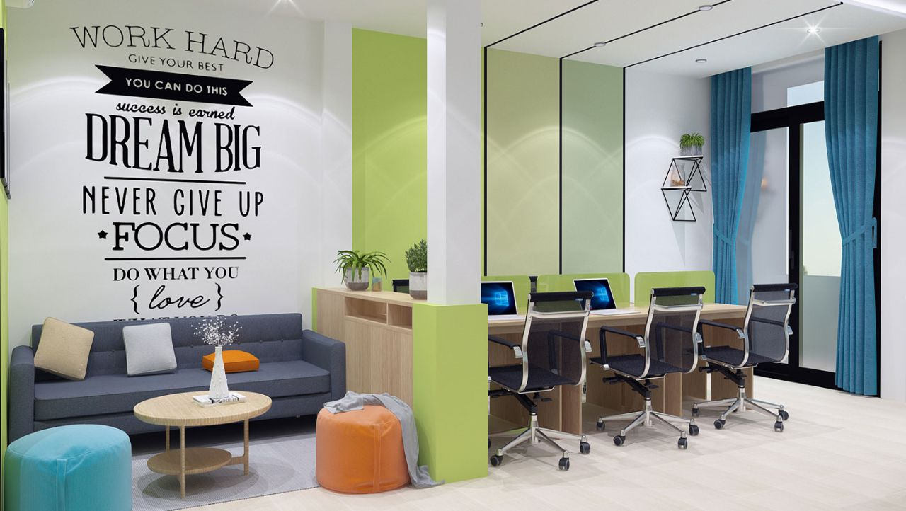 Việc trang trí những mảng tường độc đáo giúp tạo điểm nhấn cho không gian văn phòng