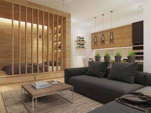 vách ngan gỗ phòng khách