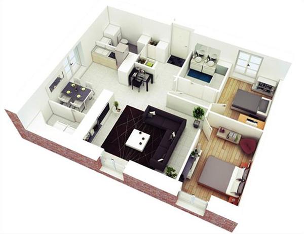 thiết kế nhà cấp 4 có 2 phòng ngủ