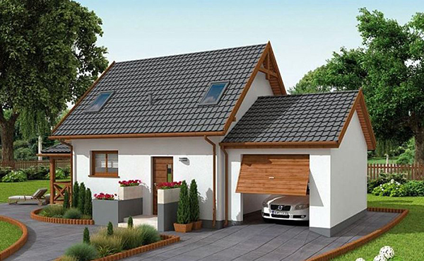 thiết kế nhà cấp 4 có 2 phòng ngủ có gara ô tô
