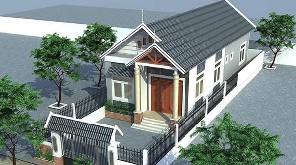 thiết kế nhà cấp 4 có 2 phòng ngủ mái thái