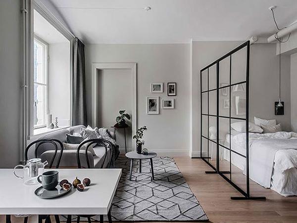 vách ngăn phòng khách và phòng ngủ