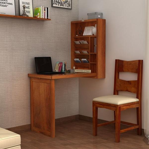 bàn học liền giá sách bằng gỗ
