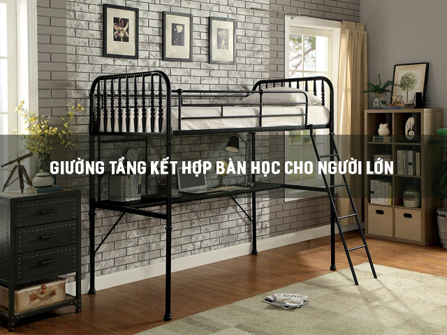 giường tầng kết hợp bàn học cho người lớn