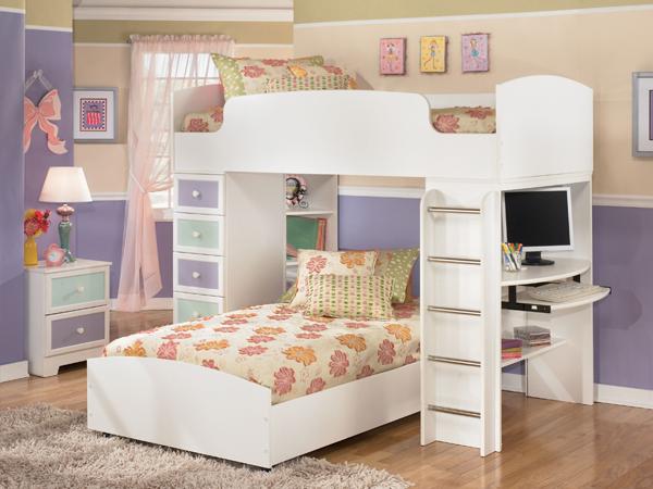 mẫu giường tầng kèm bàn học