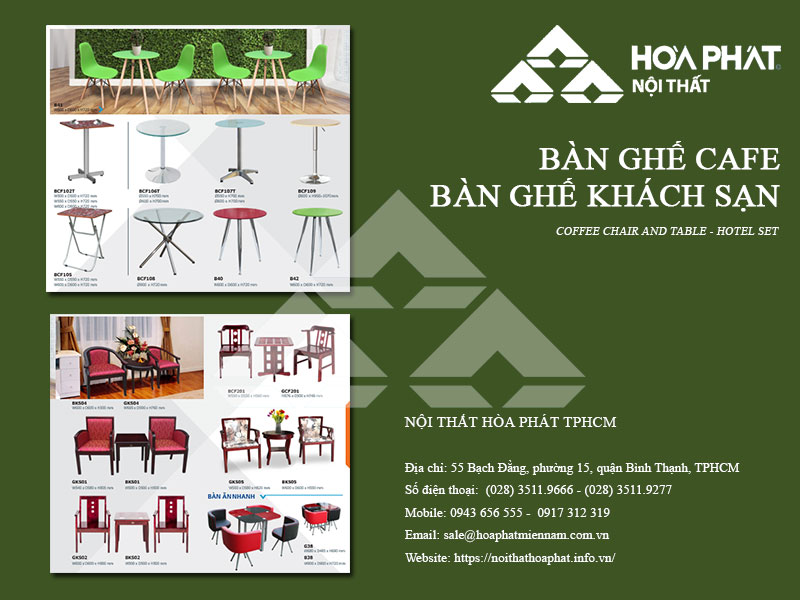 Catalogue Bàn ghế cafe Hòa Phát