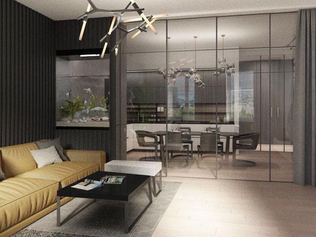 Các kiểu vách ngăn phòng khách và bếp bằng kính khung nhôm