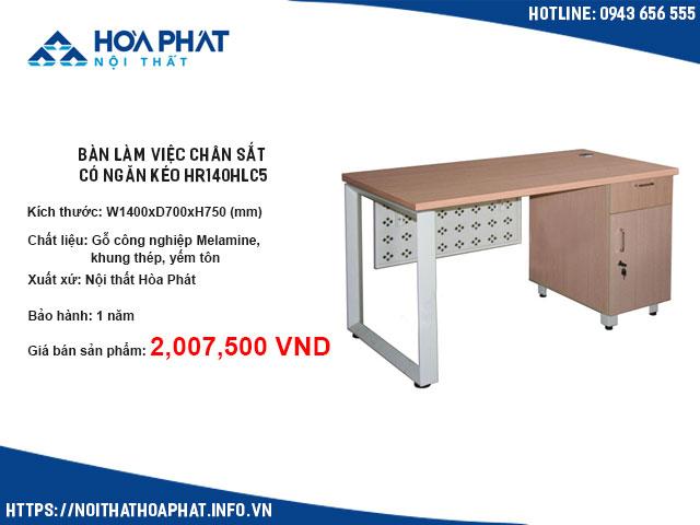 bàn làm việc chân sắt có ngăn kéo HR140HLC5