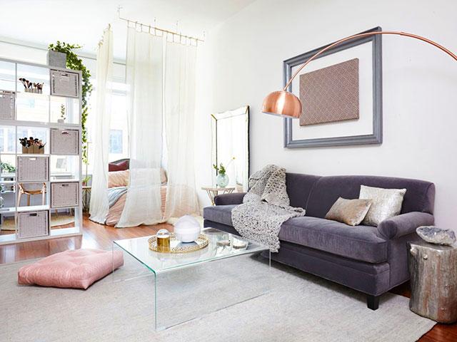 thiết kế phòng ngủ liền phòng khách