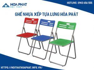 Ghế nhựa xếp tựa lưng hòa phát