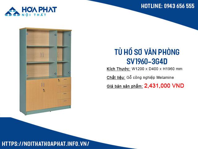 tủ kính đựng tài liệu SV1960-3G4D