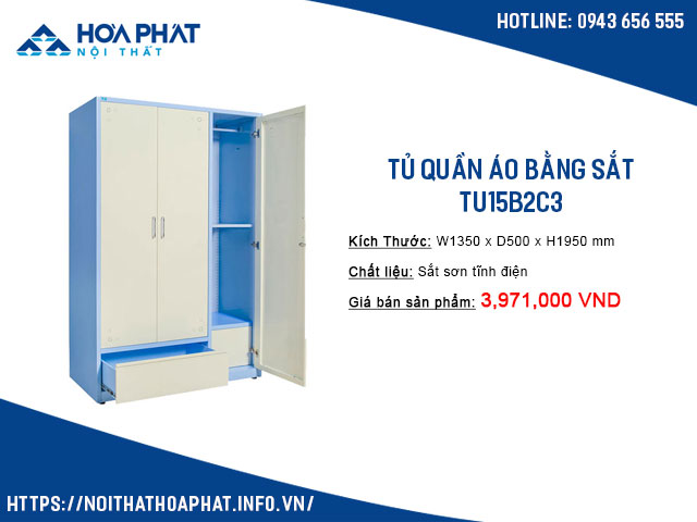 Tủ quần áo bằng sắt hòa phát TU15B2C3