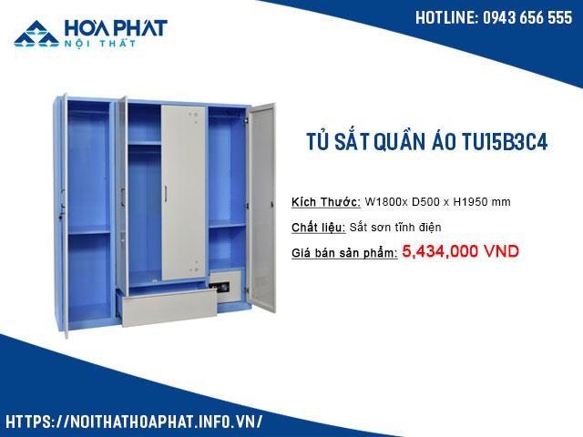 Tủ quần áo bằng sắt hòa phát TU15B3C4