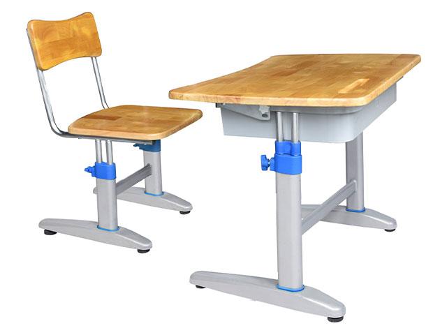 bàn học khung sắt mặt gỗ