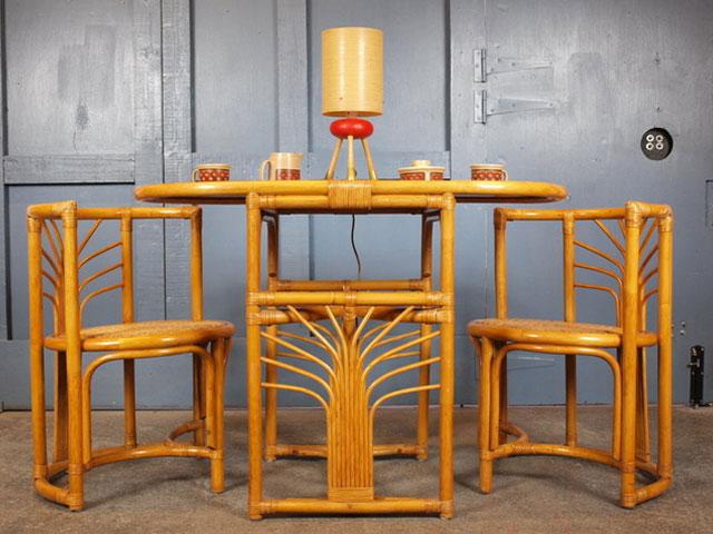 bàn ghế ăn bằng tre