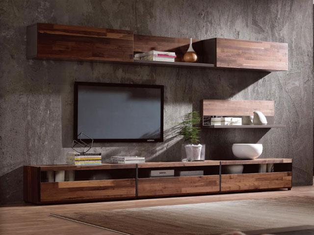 tủ trang trí phòng khách gắn tường